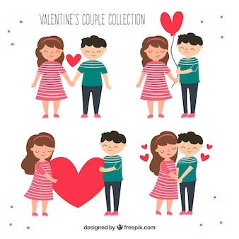 Accumulazione disegnata a mano delle coppie di san valentino