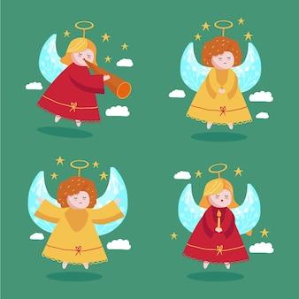 Accumulazione disegnata a mano di angelo di natale