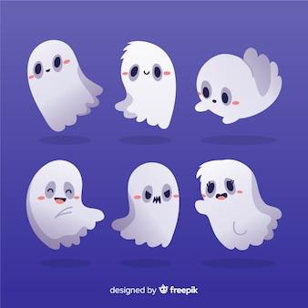 Accumulazione disegnata a mano di halloween dei fantasmi arrossenti