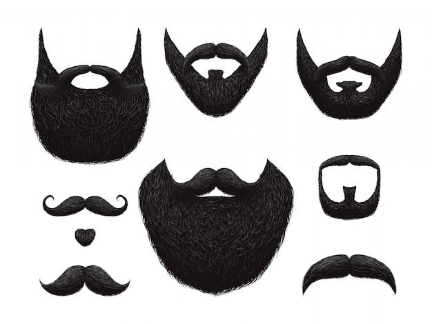 Accumulazione disegnata a mano di vettore di barba e baffi