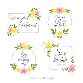 Accumulazione floreale disegnata a mano dei distintivi di nozze