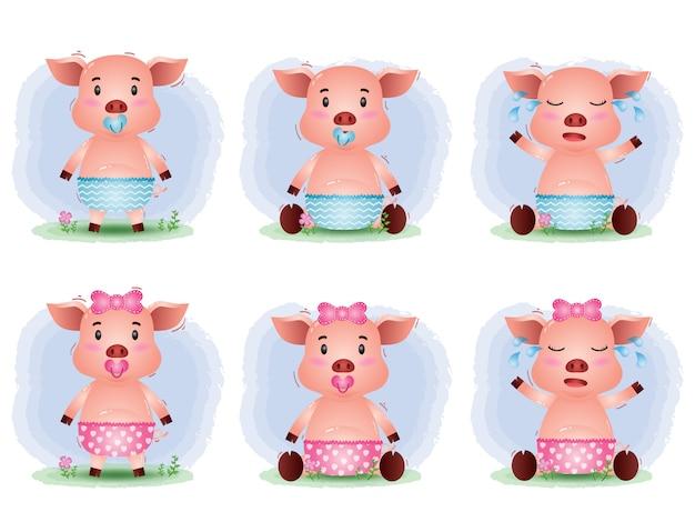 Accumulazione sveglia del maiale del bambino nello stile dei bambini