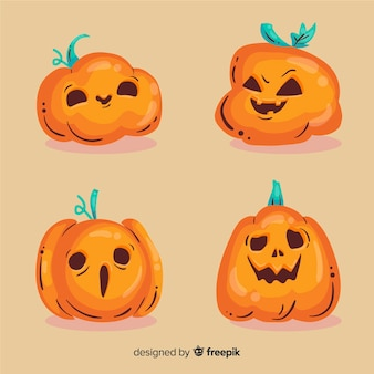 Accumulazione sveglia della zucca di halloween disegnata a mano