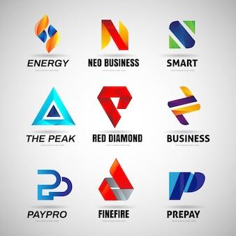 Accumulazione variopinta di affari di logo della lettera varia
