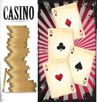 Ace poker con fiches da poker d'oro