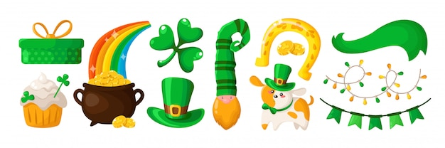 Acetosella del fumetto di saint patricks day, cucciolo carino, nano o leprechaun in cappello verde
