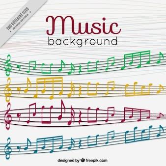 Ackground di doghe e note musicali colorate
