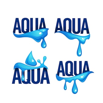 Acqua di sorgente naturale spruzzi e onde, logo vettoriale, etichette e modelli di adesivi con gocce d'acqua
