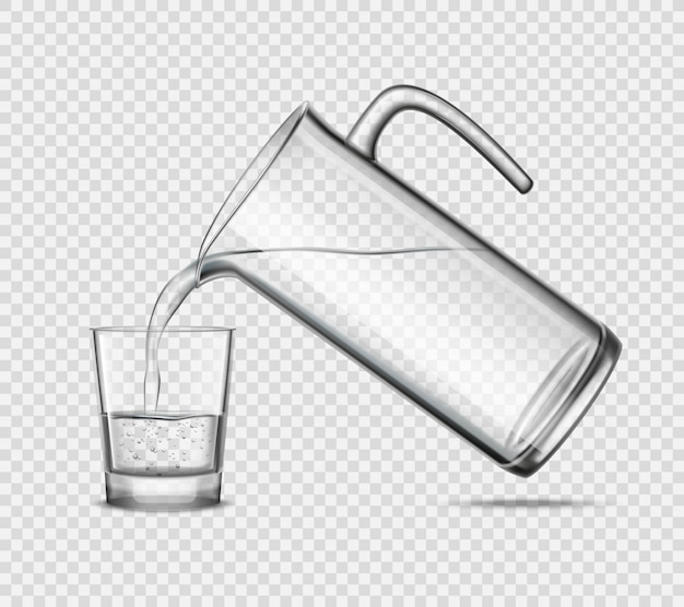 Acqua di versamento in vetro su fondo trasparente