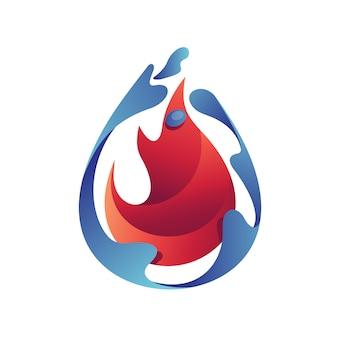Acqua e fuoco logo vettoriale