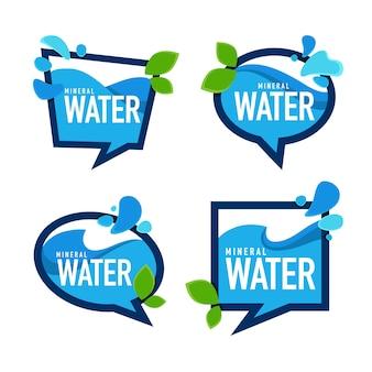 Acqua minerale naturale, emblemi vettoriali, etichette e modelli di adesivi con gocce d'acqua