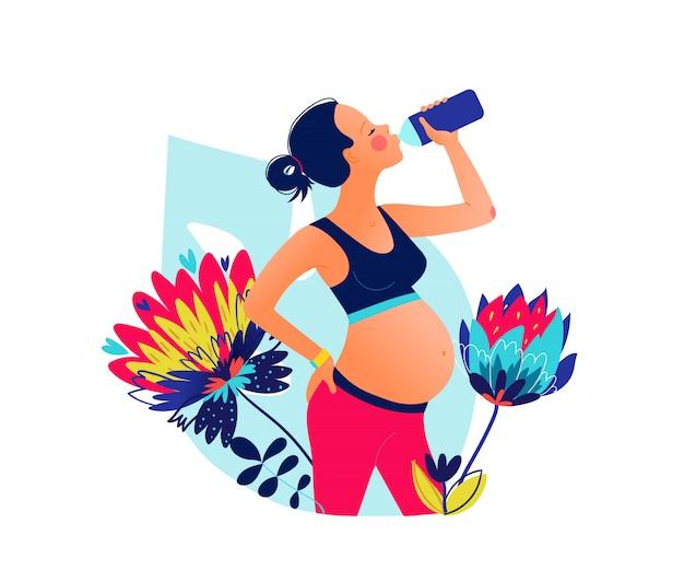 Acqua potabile della bella donna incinta dei giovani dopo l'allenamento. rimani idratato. benessere . classi in singoli sport. illustrazione stile disegnato a mano