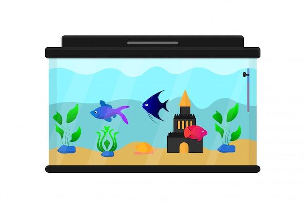 Acquario con pesci e decorazioni