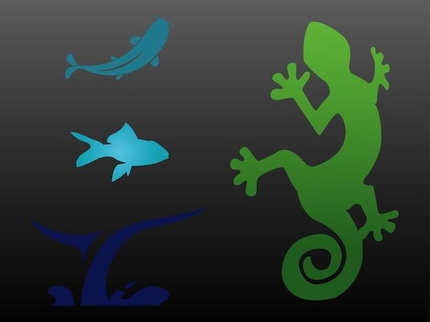 Acquatico animale icone vettore loghi