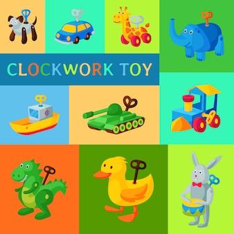 Acquazzone del bambino del robot del giocattolo del set dell'orologio retro d'annata. antica macchina robotica a chiave