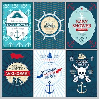 Acquazzone di bambino nautico, compleanno, carte di invito di vettore di festa in spiaggia