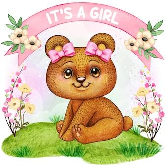 Acquazzone di bambino sveglio della ragazza dell'orso dell'acquerello