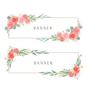 Acquerelli floreali dipinti a mano con banner di testo