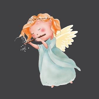 Acquerello angelo simpatico cartone animato che suona in flauto