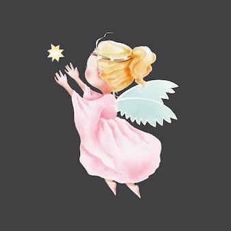 Acquerello angelo sveglio del fumetto che vola verso il cielo per la stella
