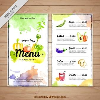 Acquerello artistico modello di menu vegano