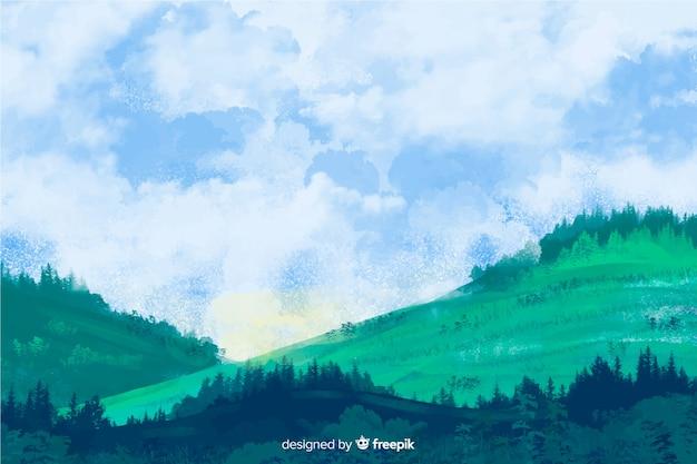 Acquerello astratto paesaggio