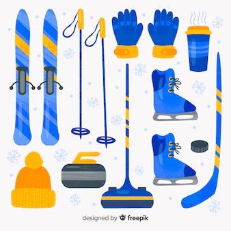 Acquerello attrezzature sportive invernali
