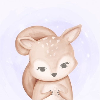 Acquerello baby cute squirrel