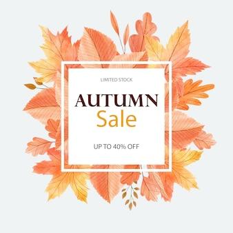 Acquerello bella carta d'autunno