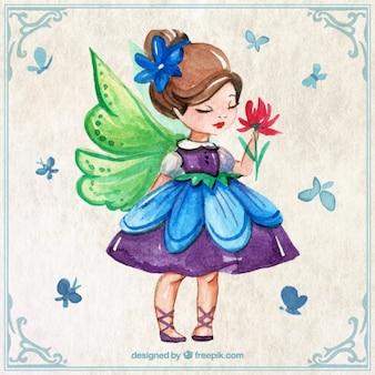 Acquerello bella fata con farfalle e fiori