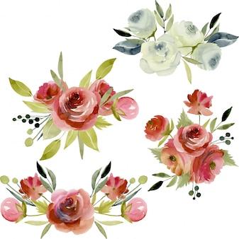 Acquerello bordeaux e mazzi di rose bianche