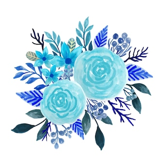 Acquerello bouquet floreale blu