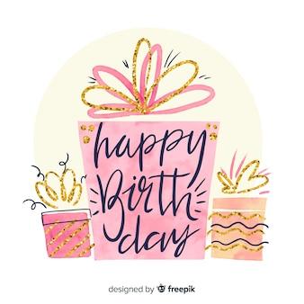Acquerello buon compleanno lettering sfondo