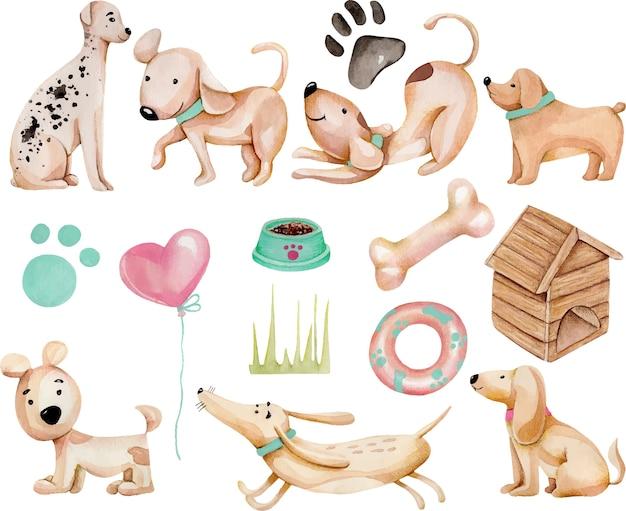 Acquerello carino divertente cani e raccolta di elementi