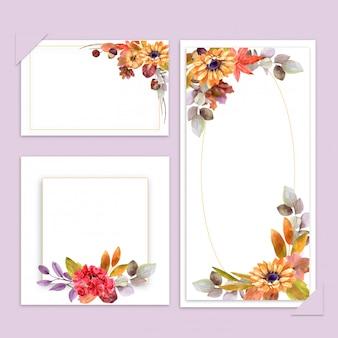 Acquerello, carta di nozze, cartolina d'auguri, fiori set autunno