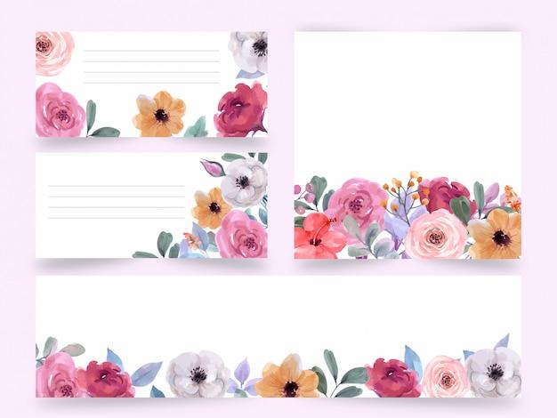 Acquerello, carta di nozze, cartolina d'auguri, fiori set