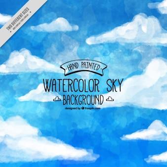 Acquerello cielo blu con nuvole di sfondo
