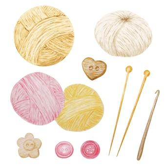Acquerello clip art hobby maglieria e uncinetto, filato di lana, bottoni set di clipart carino. collezione di gomitoli disegnati a mano per lavorare a maglia