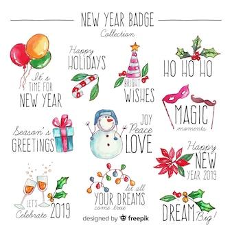 Acquerello collezione di distintivi del nuovo anno
