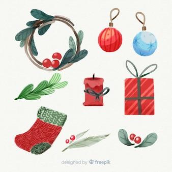 Acquerello collezione di elementi natalizi