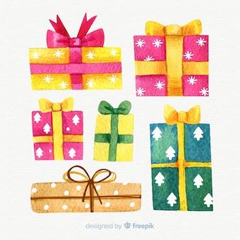 Acquerello colorato collezione di scatole regalo di Natale