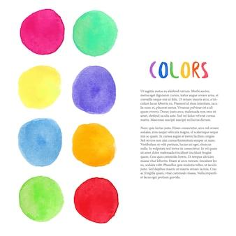 Acquerello colorato sfondo vettoriale. decorazione con macchie di pittura. decorazione in studio artistico. modello vettoriale