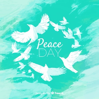 Acquerello concetto di giornata internazionale della pace con colomba bianca