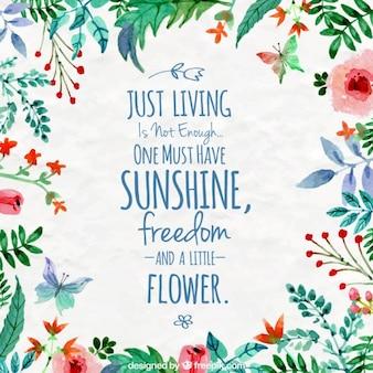 Acquerello cornice floreale con una citazione di ispirazione