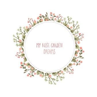 Acquerello cornice rotonda con fiori in stile romantico.