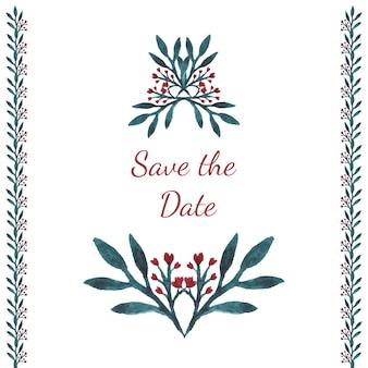 Acquerello d'invito. salvare la scheda data con fiori, cuore e foglie.