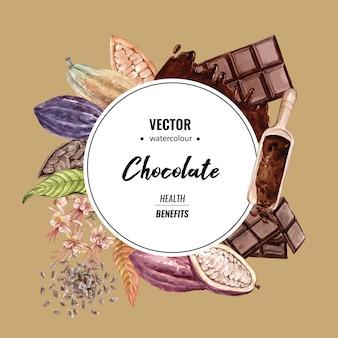 Acquerello degli alberi del ramo del cacao del cioccolato con la barra di cioccolato, illustrazione