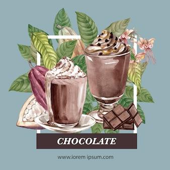Acquerello degli alberi del ramo del cacao del cioccolato con la bevanda del frappe del cioccolato, illustrazione