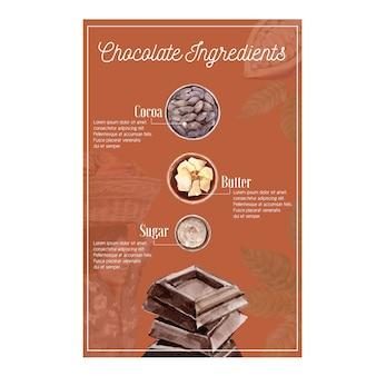 Acquerello degli ingredienti del cioccolato con gli alberi del ramo di cacao, infographic, illustrazione