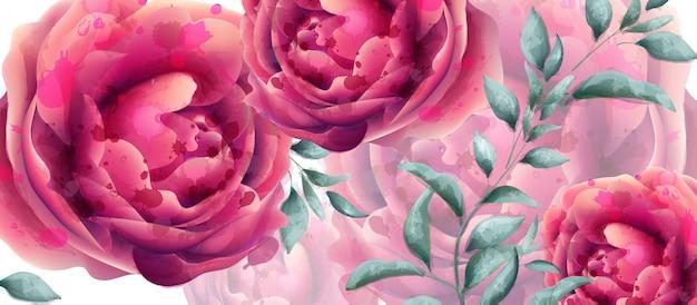 Acquerello dei fiori della rosa dell'invito di nozze